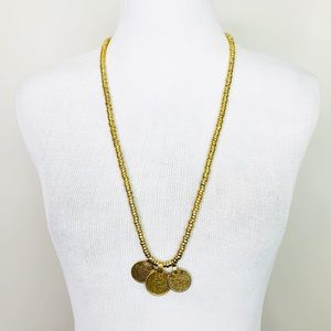 VINTAGE Long Gold Coin Necklace Beaded Boho